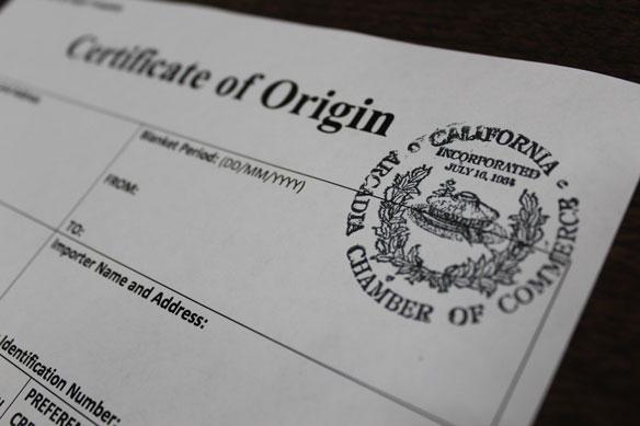 Certificate of Origin - Arcadia Chamber of Commerce