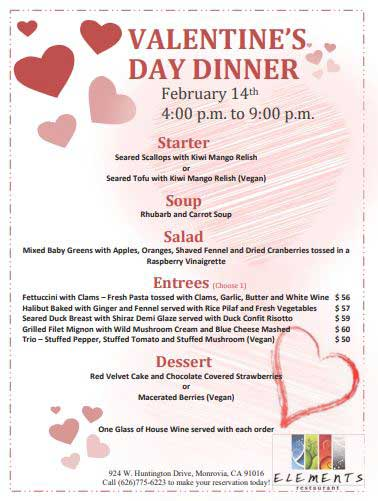 Valentine's Day at DoubleTree's Elements Restaurant