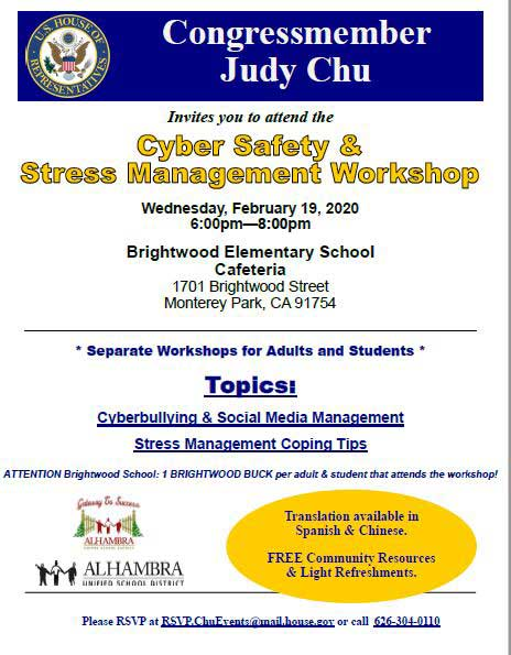 Judy Chu Cyber Safety & Stress Management Workshop