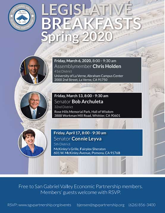 San Gabriel Valley Economic Partnership Legislative Breakfasts Spring 2020