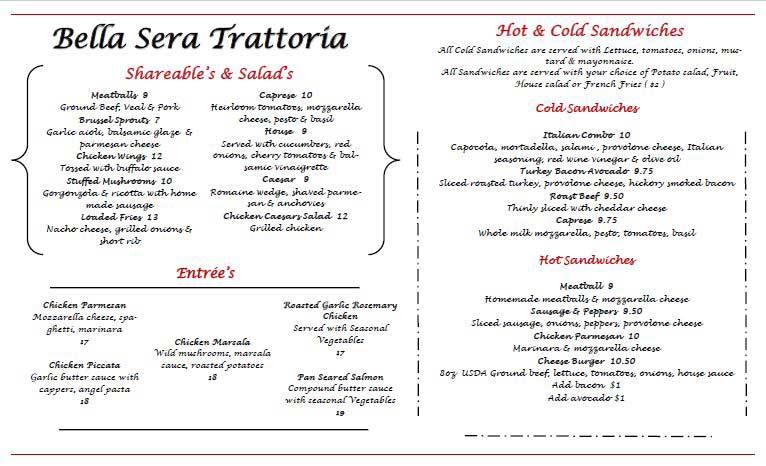 Bella Sera Trattoria presents new menu