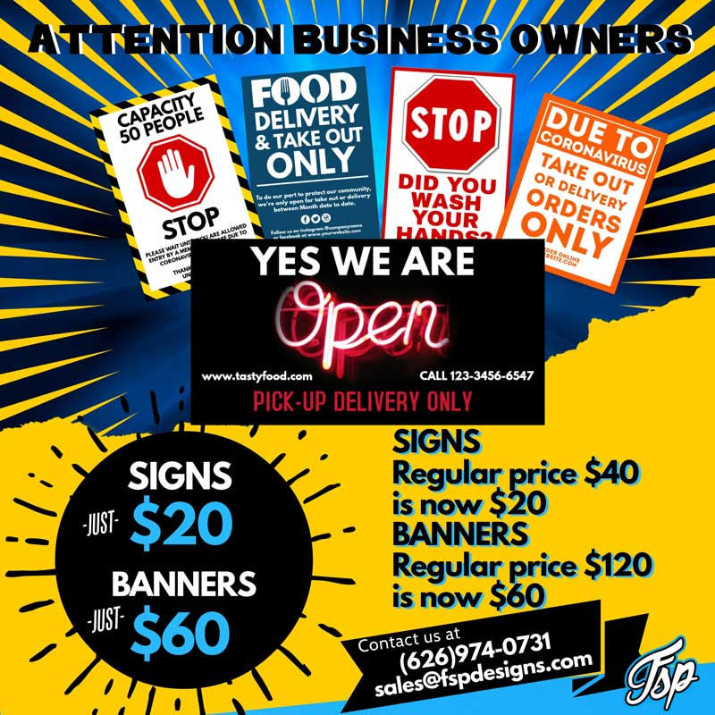 FSP Designs offers on Banners and Signs