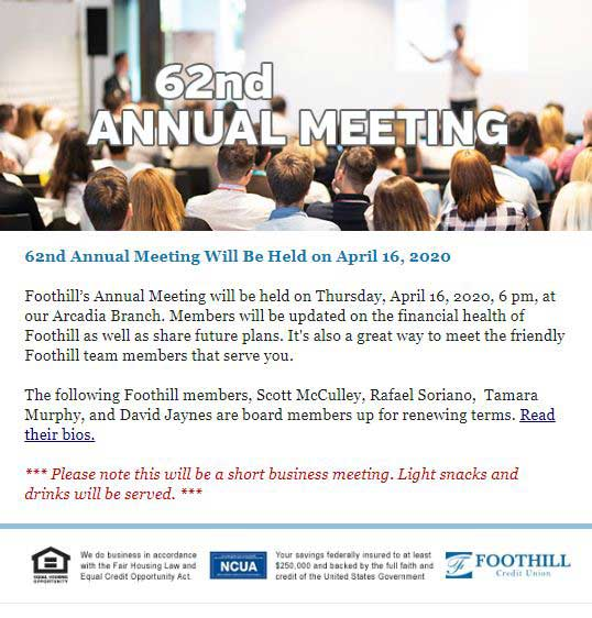 Foothill Credit Union 62nd Annual Meeting