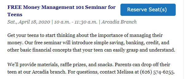 Free Money Management 101 Seminar for Teens at Foothill Credit Union