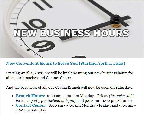 Foothill Credit Union New Business Hours
