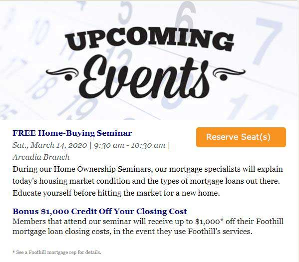 Foothill Credit Union Upcoming Events