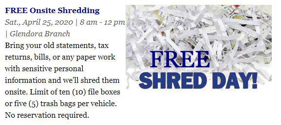 Foothill Credit Union Free Shred Day