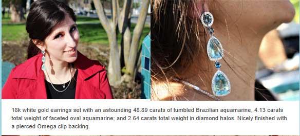 18k white gold earrings with 48.89 carats of Brazilian aquamarine