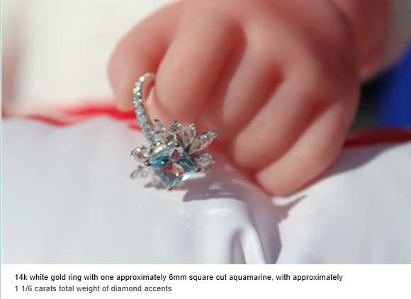 14k white fold ring with one approx. 6mm square cut aquamarine