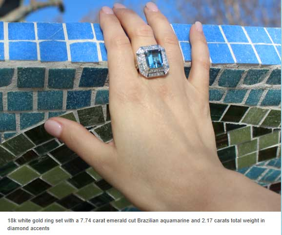 18k white gold ring set with emerald cut Brazilian aquamarine