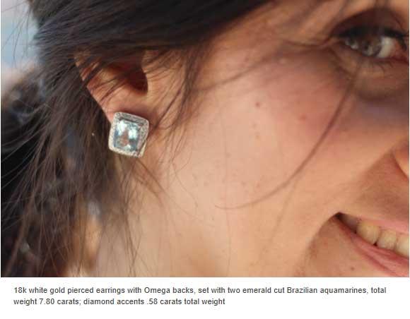 18k white gold earrings with emerald cut Brazilian aquamarines