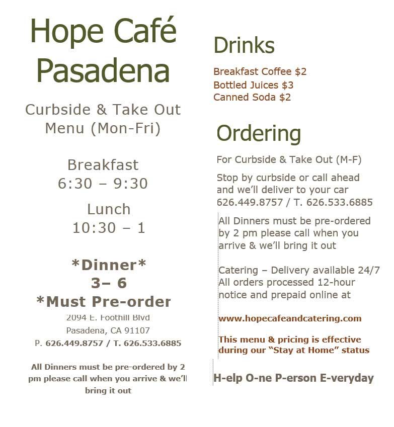 Hope Cafe curbside menu