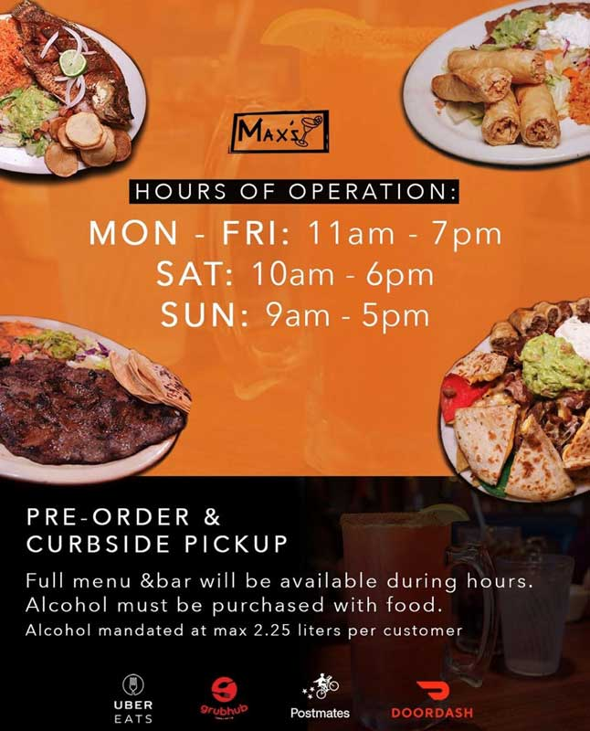 Max's Mexican Cuisine hours of operation for curbside pickup