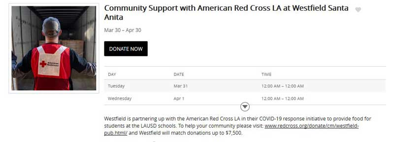 Community Support with American Red Cross LA at Westfield Santa Anita