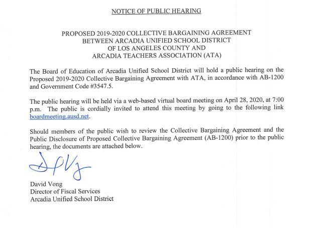 AUSD Notice of Public Hearing