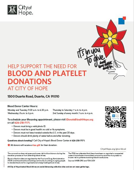 City of Hope Seeks Blood and Platelet Donations