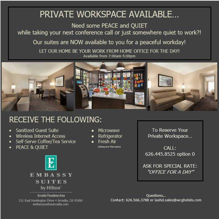 Private Workspace Available at Embassy Suites