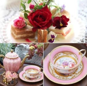 Four Seasons Tea Room roses with sandwiches and tea cups