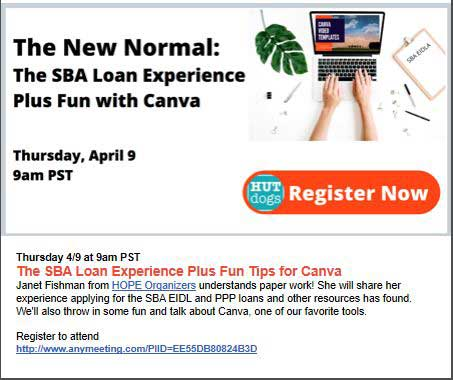HUTdogs The New Normal Webinar Services SBA Loans plus Fun with Canva