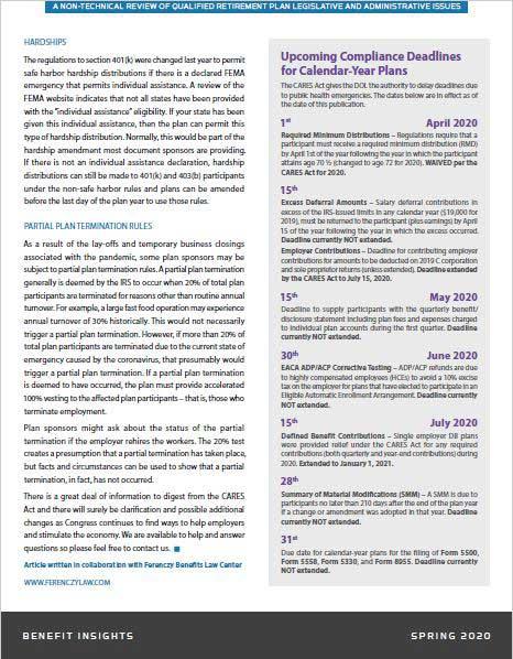 Millenium Pension Services Understanding CARES Act