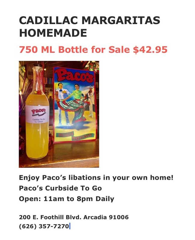 Paco's Mexican Cuisine offers Cadillac Margaritas Homemade