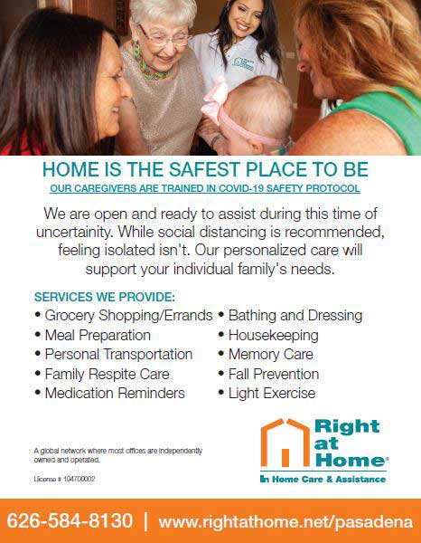 Right at Home has COVID trained caregivers