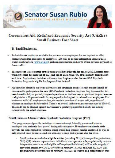 Senator Susan Rubio COVID Aid, Relief Small Business Fact Sheet