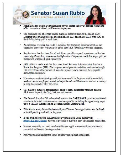 Senator Susan Rubio COVID-19 FAQs page two