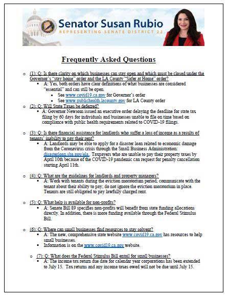 Senator Susan Rubio FAQs on COVID-19