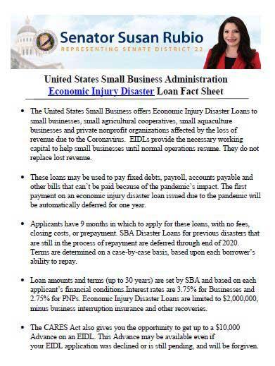 Senator Susan Rubio Economic Injury Disaster Loan Fact Sheet