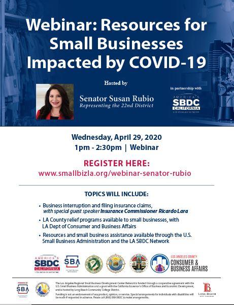 Senator Susan Rubio Small Business Webinar