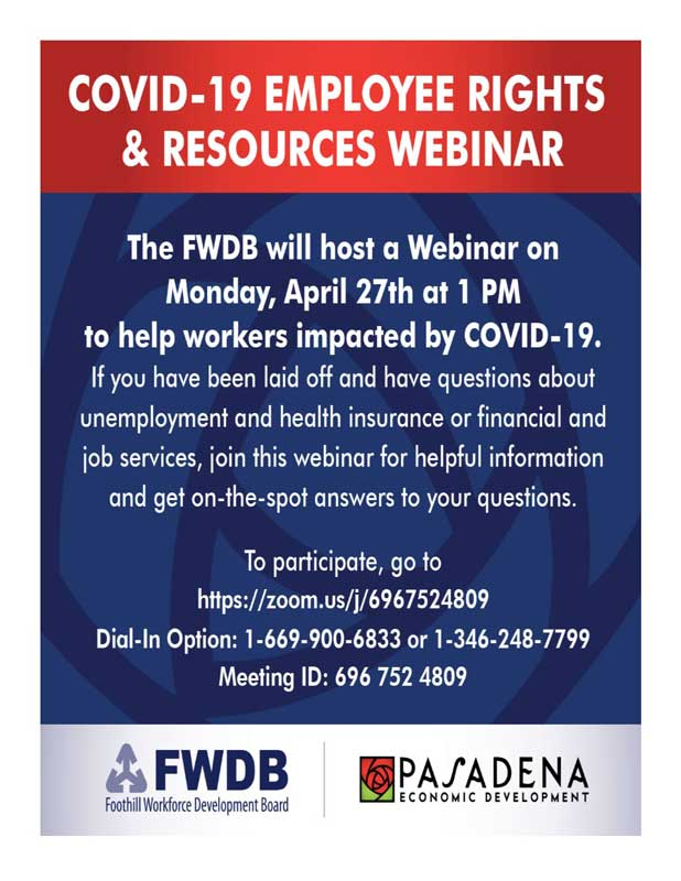 Foothill Workforce Development Employee info Webinar