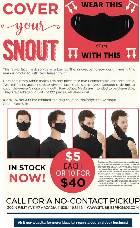 Stubbies Promotions Cover Your Snout masks