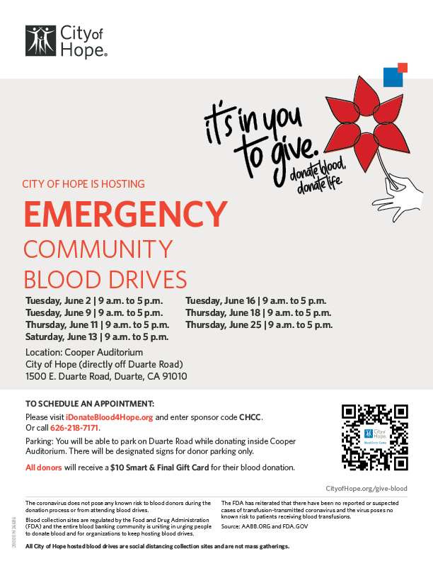 City of Hope blood drives