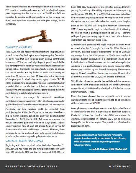 Millennium Pension Secure Act information