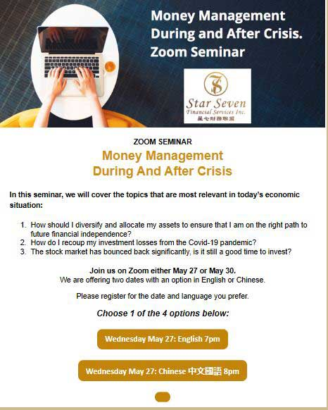 Money Management during and after crisis seminar