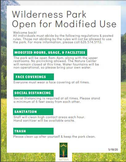 Wilderness Park open for Modified Use