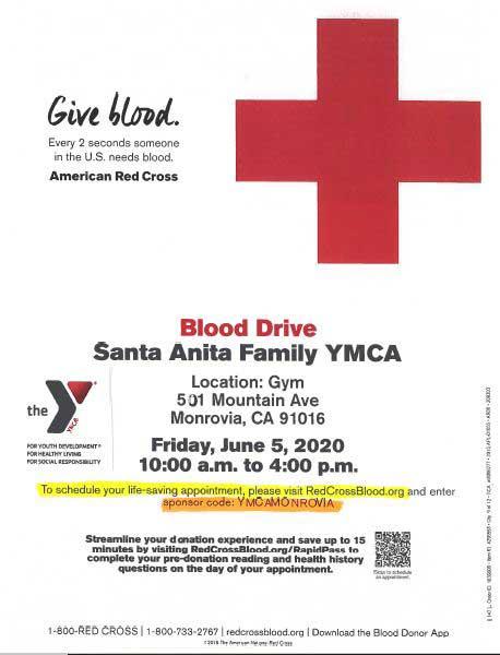 Santa Anita Family YMCA Blood Drive