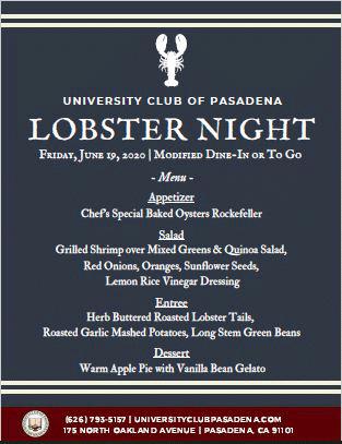 University of Pasadena Lobster Night menu
