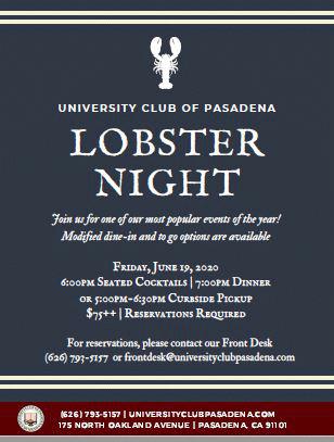 University Club of Pasadena Lobster Night