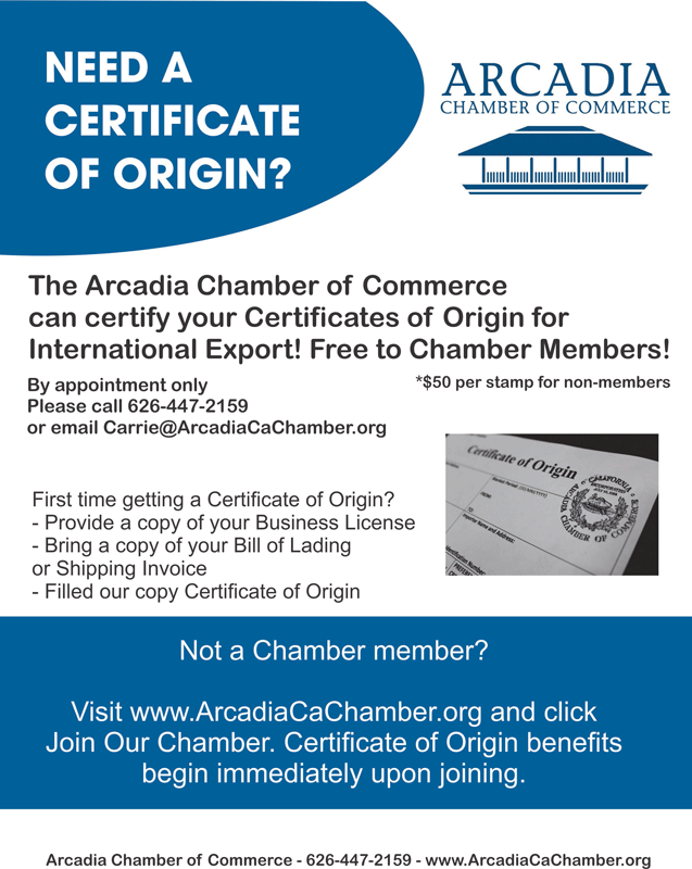 Arcadia Chamber Certificate of Origins