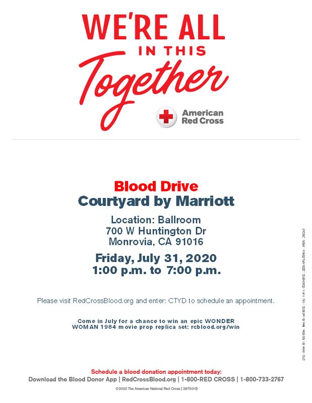 Courtyard Marriott Blood Drive flyer