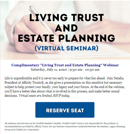 Foothill Credit Union Living Trust and Estate Planning Seminar