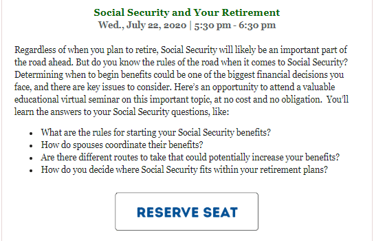 Foothill Credit Union Social Security and Your Retirement webinar