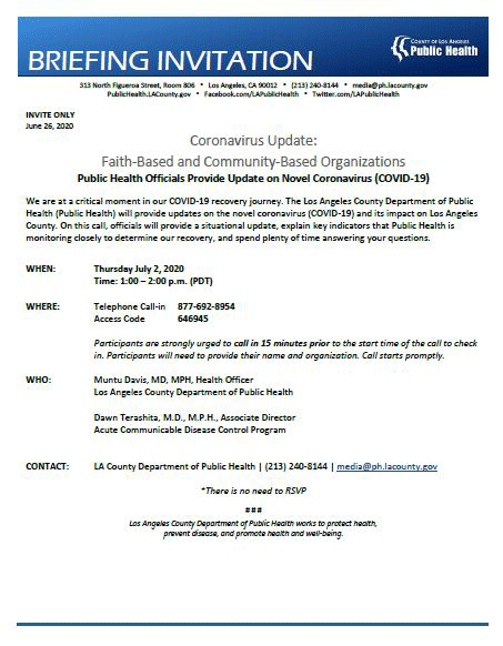 Public Health Telebriefing for faith-based and community organizations
