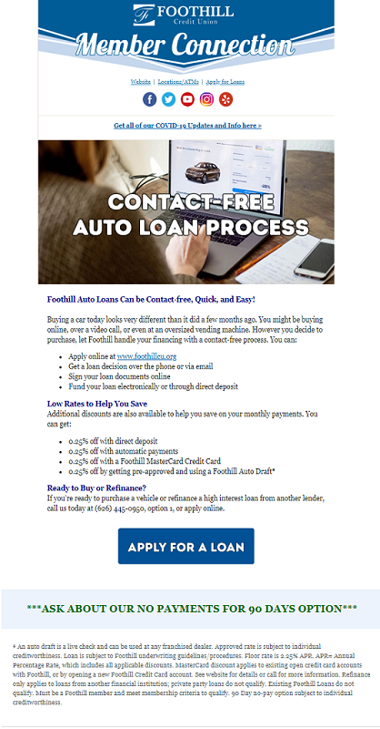 Foothill Credit Union Member Connection Contact Free Loan Process