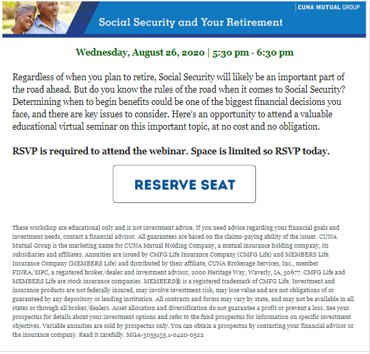 Foothill Credit Union Social Security Retirement webinar