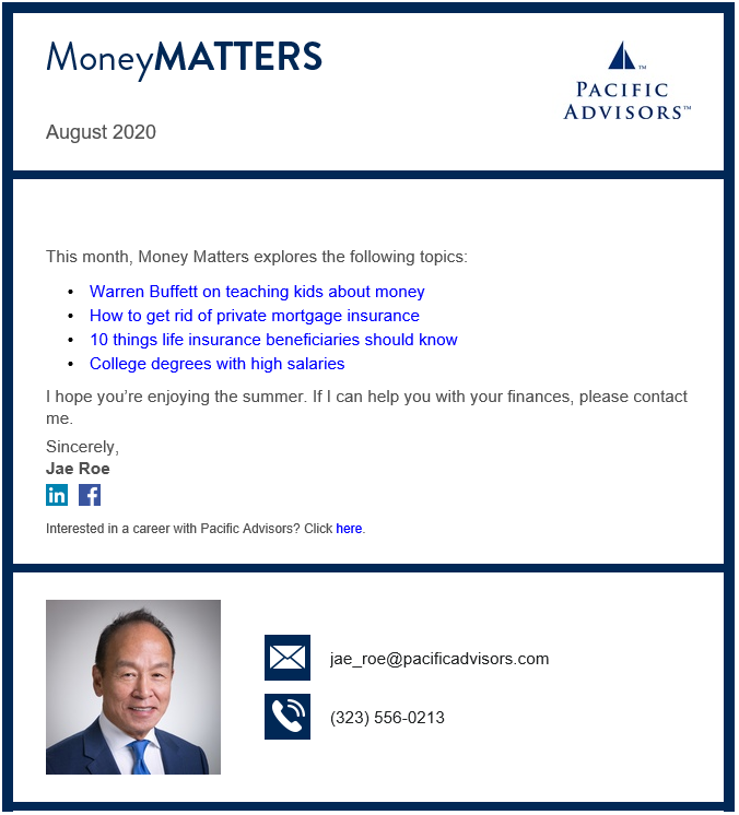 Money Matters Newsletter with Jae Roe