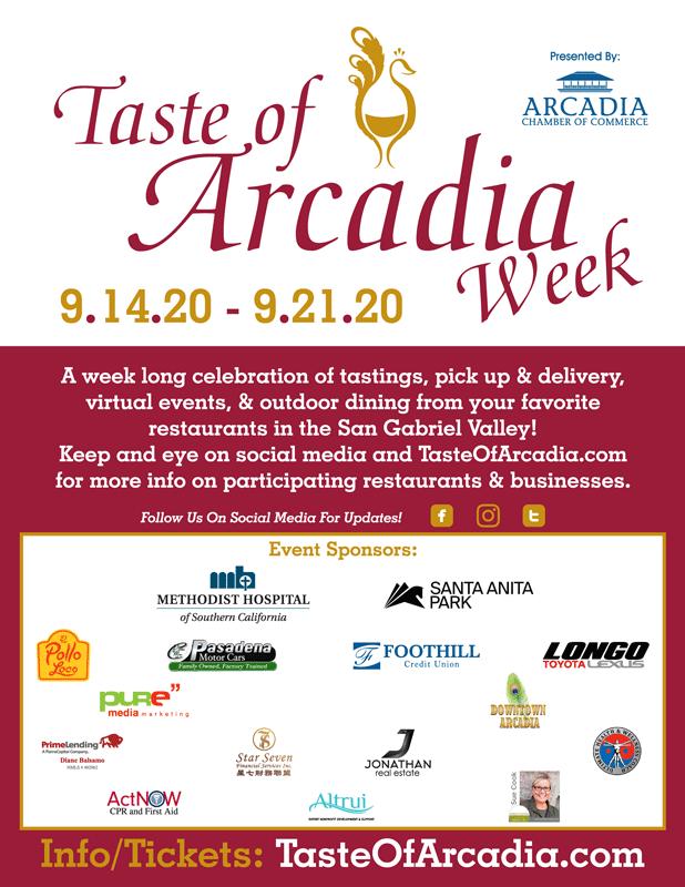 Thank you to Taste of Arcadia week Sponsors