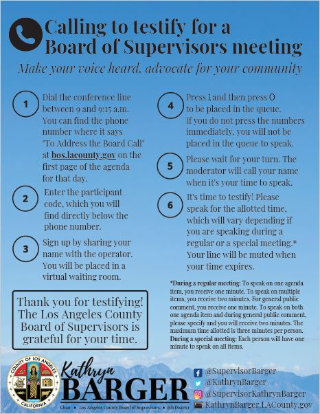Calling to Testify for a Board of Supervisors Meeting